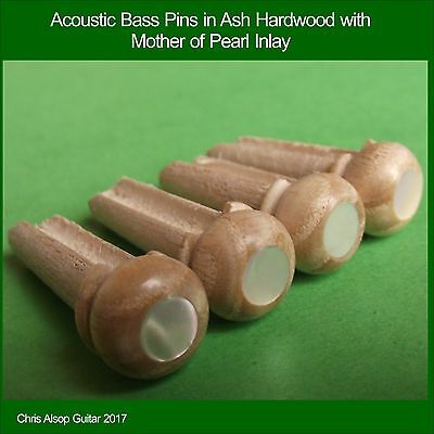 Ash Hardwood with Mother of Pearl Inlay Acoustic Bass Guitar Bridge Pins. PP046