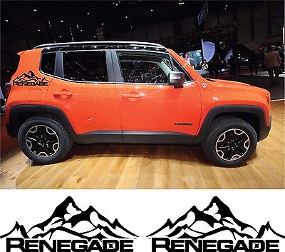 Jeep Renegade Trailhawk Side Stripes Vinyl Decals Stickers Wrap Mountains