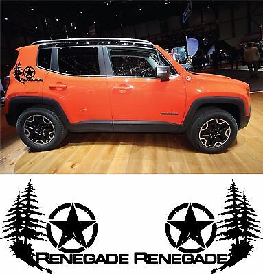 Jeep Renegade Trailhawk Side Stripes Vinyl Decals Stickers Wrap Star Trees