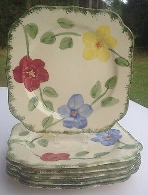 (6)Blue Ridge Southern Pottery Flower Ring,Blue,Red, Yellow Flowers Square Plate