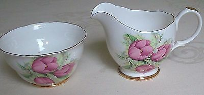 Dorchester Vintage Bone-China Pink-Tulips Gilded Milk Cream Jug & Sugar Bowl