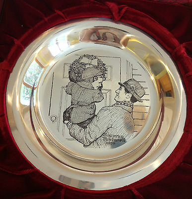 Hanging the Wreath Norman Rockwell Sterling Silver Christmas Plate Franklin Mint