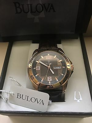 Men's Rose Gold Genuine Leather Bulova Day-date Watch