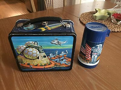 The Astronauts Vintage Metal Lunch Box Space Theme with Thermos USA Nashville TN