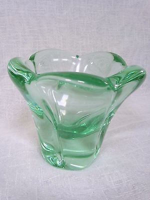Daum Nancy French crystal - stunning green Vase 15 cm tall signed near base