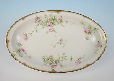 Antique Haviland Limoges Small Oval Platter Tray Pink Rose Gold Porcelain French