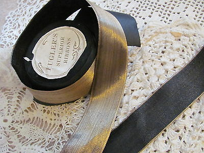 """Rare Antique 1920s French Gold Metal Metallic Ribbon 1-1/2""""  Millinery ONE YARD"""