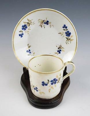 Early DERBY COFFEE CAN CUP & SAUCER Antique English Porcelain Gold Royal Crown