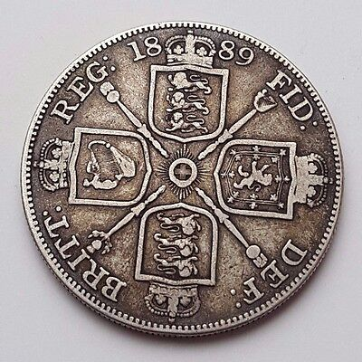 Dated : 1889 - Double Florin - Four / 4 Shillings - Queen Victoria - Silver Coin