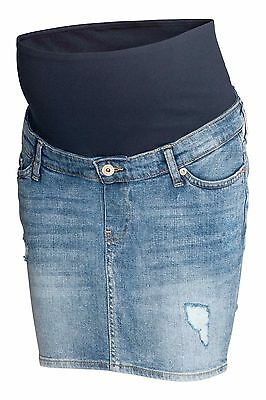 -% H&M MAMA Maternity Denim Distressed Look Mini Skirt MUST HAVE UK 14 16