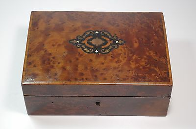 Antique XIX French Inlaid Trinket Box Marqueterie Padded Interior
