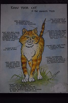 """Wall Plaque, Signed Dick Twinney. """"Know Your Cat"""". The Ginger Tom."""