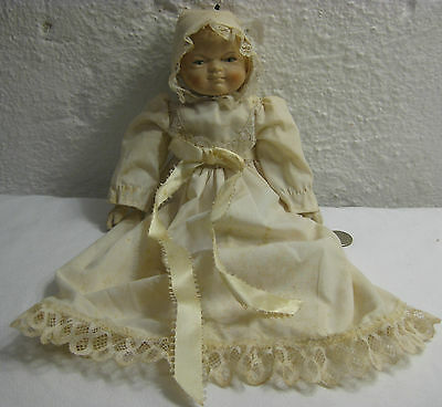 """Vintage Bisque Porcelain 11"""" Baby Doll with Clothes - Marked T H C - Sold AS IS"""