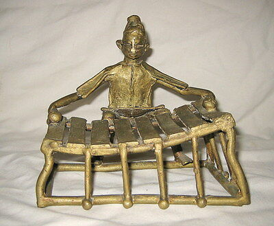 Vintage African Lost Wax Brass Tribal Figure Man Playing A Xylophone