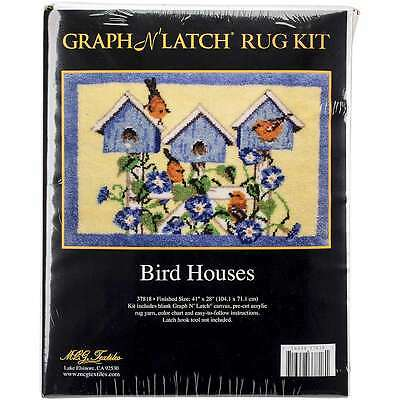 "Latch Hook Kit 41""X28"" Bird Houses 716448378181"