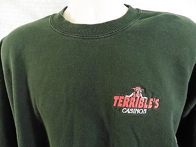 TERRIBLE'S CASINOS Sweatshirt LARGE Green Crew Long Sleeve Nevada FREE SHIPPING