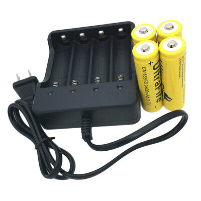 4X 18650 3.7V 9800mAh Li-ion Rechargeable Battery & 4.2V Charger for Flashlight