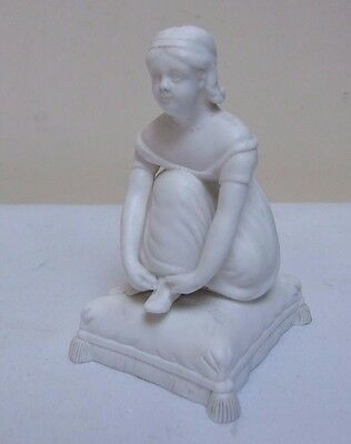 "OLD CROWN DERBY PARIAN WARE BISQUE LADY ON CUSHION FIGURE FIGURINE 3.75"" C19th"