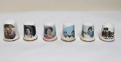6 Commemorative China Thimbles Collectable Royalty Torvill & Dean Falklands