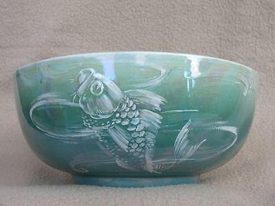 "Antique Art Deco Shelley Luster Porcelain Ceramic Bowl ""fish"" By Walter Slater"