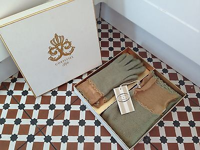 Designer Boxed Cortefiel Gloves Scarf Womens Vintage Lambswool Gift Chic