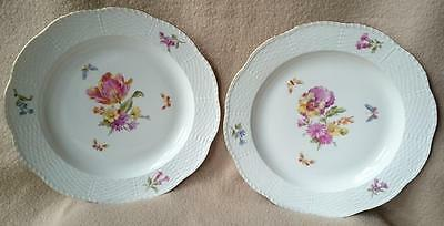 2 Antique Continental German Kpm Berlin Porcelain Plates Dresden Sprays Pattern