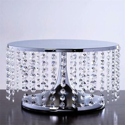 "SILVER METAL 7.5"" tall Cake Stand with Crystal Pendants Party Wedding Reception"