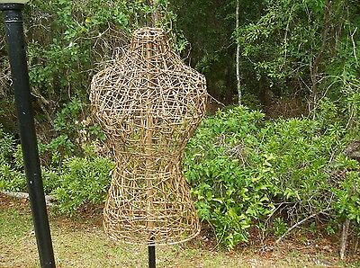 Metal Wicker Vintage Style Dress Form Wrought Iron Base Mannequin