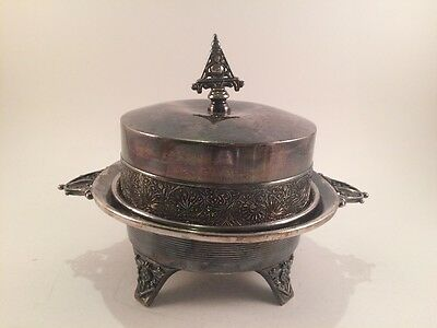 LAST LISTING Antique Rockford Silver Quadruple Plate Covered Butter Dish Ornate
