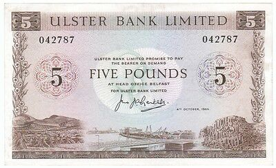 Ulster Bank Ltd. £5 Dated 1966 Signed Leitch, About Uncirculated, Very Scarce