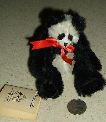 "G)Vintage Annemade Ann Inman 5""h Jointed Mohair Baby Panda Bear"