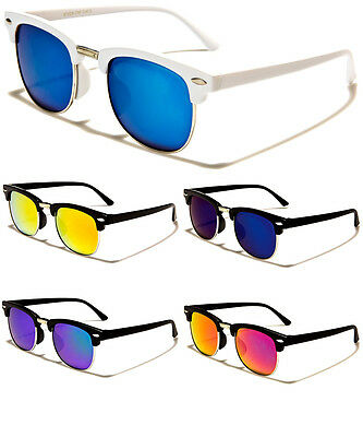 Kid's Clubmaster Style Half Frame Boy's Girl's Colored Mirrored Sunglasses