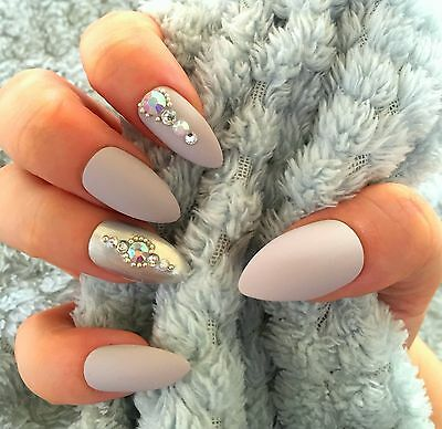 FALSE NAILS - Matte Stone Grey, Diamante - Stick On - The Holy Nail