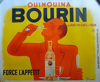 "Original Vintage French Quinquina ""Bourin"" Poster, Mounted on Linen, 1936"