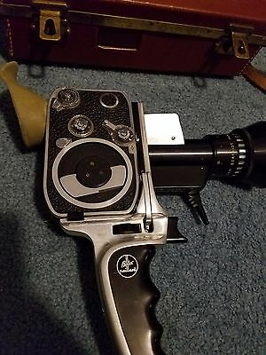 Bolex Zoom Reflex 8 mm vintage movie camera with case, grip, and filters