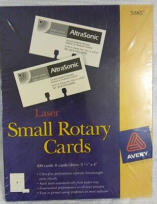 NEW Avery 5385 Small Laser Rotary Cards Laser 50 Sheets 400 Cards 2 1/6 x 4""