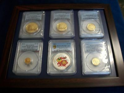 2011 China Complete 5-Gold Panda 1 Silver 6-Coins-Set Pcgs Ms 70