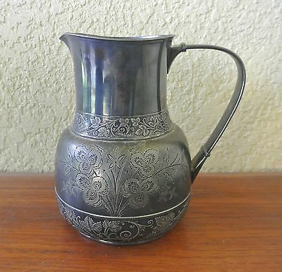 MIDDLETOWN PLATE CO Silverplate Engraved Pitcher #243 Hard White Metal