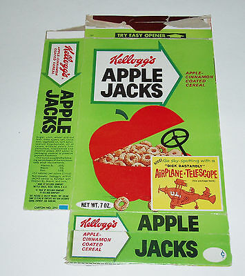 1969 Kelloggs Apple Jack Cereal Box w/ Dick Dastardly Airplane Telescope offer
