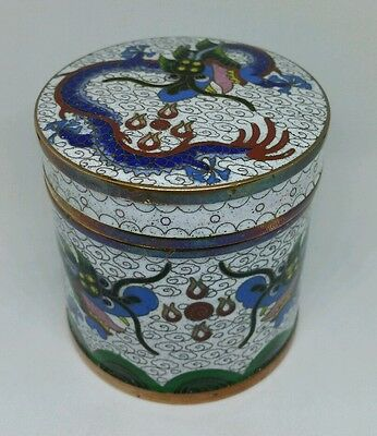 Old Chinese White Cloisonne Tea Jar With Dragon Decoration