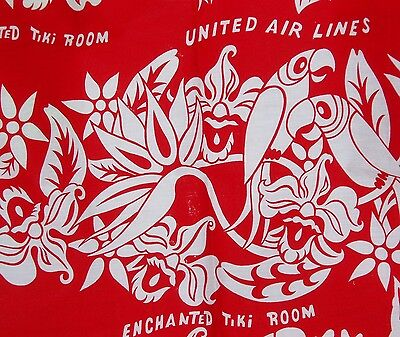 "Vintage 1960's Disneyland Tiki Room Fabric 44x44"" United Airlines"
