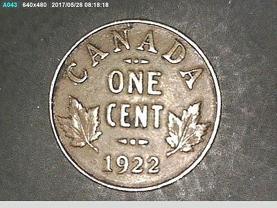 1922 Small Cent VF ** RARE Date 3rd LOWEST Mintage George V KEY Old Canada Penny