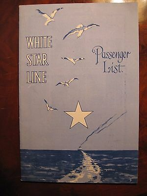 "White Star Line ""Olympic"" passenger list seagulls and star motif 1930 rare"