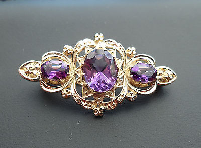Victorian Style 9ct Gold Amethyst Brooch