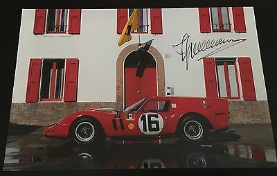 Rare Autographe Photo Engineer Giotto Bizzarrini Ferrari 250 GT Breadvan Signed