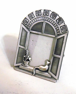 Small Pewter Picture Frame With Cat And Flower In Window