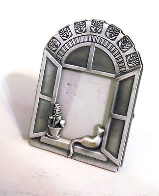 Small Pewter Picture Frame With Cat In Window