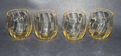 set of 4 VINTAGE TOPAZ YELLOW OPTIC PILLAR JUICE GLASSES
