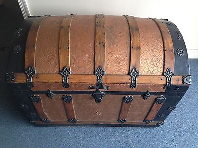 Rare Antique Vintage Domed Chest Storage Trunk w/ Metallic Copper Surface