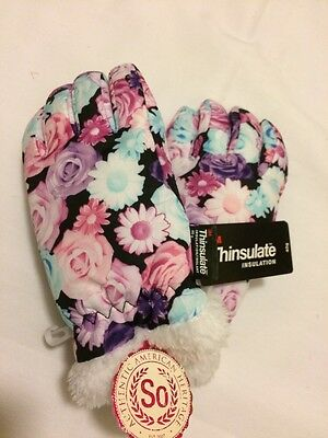 Girl's SO Floral 3M Thinsulate Gloves Size Large Winter Snow Mittens NWT